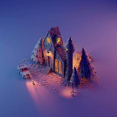 Modelos Low Poly, Modelos 3d, Isometric Art, Isometric Design, 3d Fantasy, Fantasy House, Blender 3d, Environment Concept Art, Environment Design