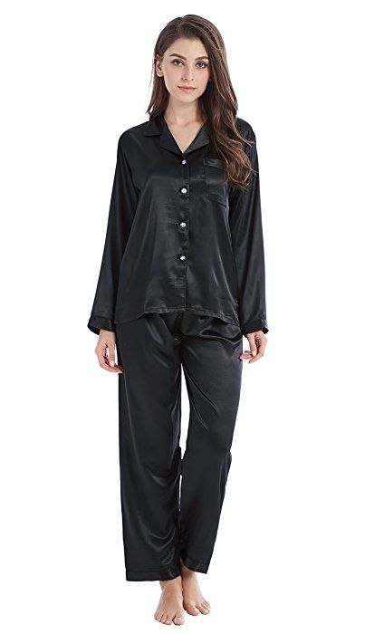 d6d6db5b1a17 TONY AND CANDICE Women s Classic Satin Pajama Set Sleepwear Loungewear  (Small