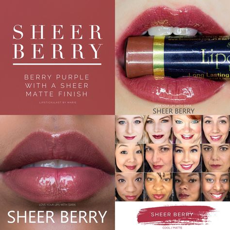 Sheer Berry LipSense is lip color that lasts 4-18 hours. It won't smudge, budge, feather, or kiss-off!