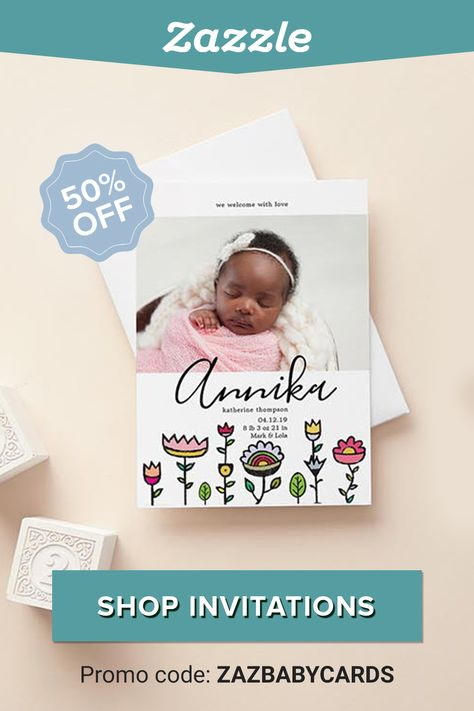 50% off Birth Announcements, Baby Shower Invites & More