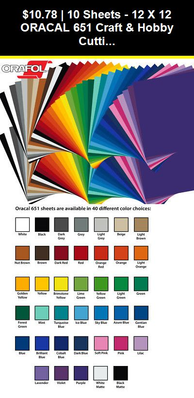 Die Cutting Vinyl 166722: 10 Sheets - 12 X 12 Oracal 651