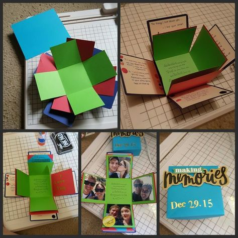 Made an explosion memory box for my boyfriend. He loved it! It was full of cute ...