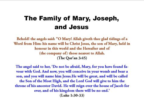 jesus in islam | The Family of Jesus, Mary, and Joseph in Catholicism and Islam