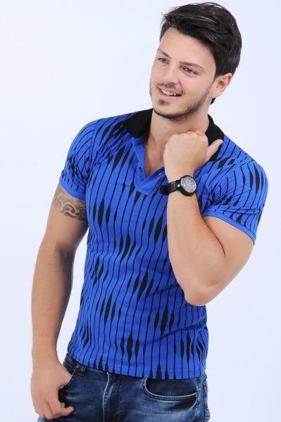 Erkek Tisort Siyah Desenli Polo Yaka Saks Mavisi T Shirt Fashion Otantik Bayangiyim Armine Cool Kiz Modelleri Bayan Butik Polo Erkek Tisort Siyah