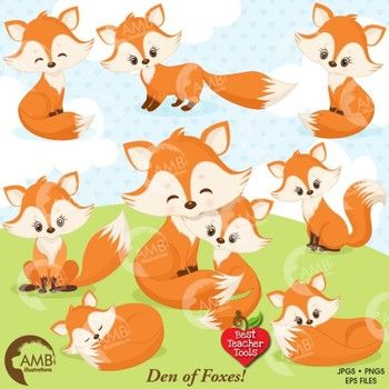 Fox Clipart, Cute Foxes Clipart, Mother and Baby Fox, Fox Den, AMB-1346