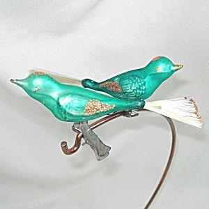 2 Clip On Green Bird Christmas Ornaments Spun Glass Tails