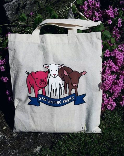 Bag For Your Next Animal Rights March Or Itll Be Perfect Grocery Shopping Click Through To View More Vegan Bags Vegantote Vegetarian