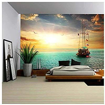 Wall26 Beautiful Sunset Over Yacht In The Sea Removable Wall Mural Self Adhesi Large Wall Murals Removable Wall Murals Beach Style Decorating