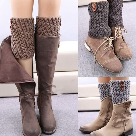 Women's Fashion Designer Buttons Leggings Autumn Winter Short Boot Hollow Ma … - Everything About Knitting and more :)çorap tozluk Crochet Patterns Socks and more :) Cool trick - good gift for some friends =D Global Online Shopping for Apparel, Phones, Crochet Boot Cuffs, Crochet Leg Warmers, Crochet Boots, Crochet Slippers, Crochet Clothes, Diy Clothes, Guêtres Au Crochet, Crochet Stitches, Crochet Patterns