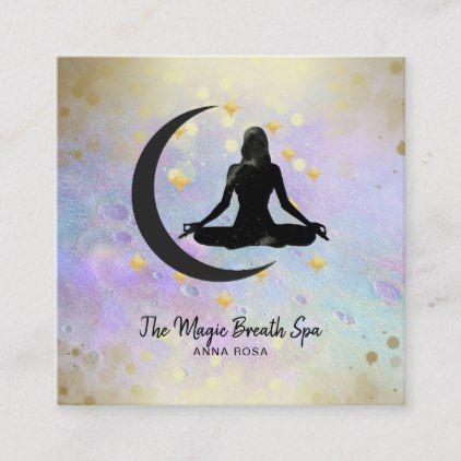 Yoga Meditation Gold Woman Moon Mindfulness Square Business Card Zazzle Com Yoga Meditation Deep Meditation Business Card Design