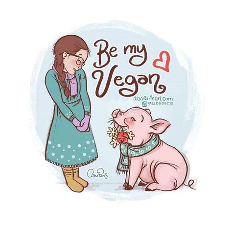 Happy Valentine's Day! Tag your favorite person ❤ ! ! o💜💜AlbaParisArt.com💜💜o Vegan & Animal rights art printed on apparel/accessories & more During February🌱, 10% of all sales profits will go to 🐇🐭@newlifeanimalsanctuary 🐷🐥 in California,...