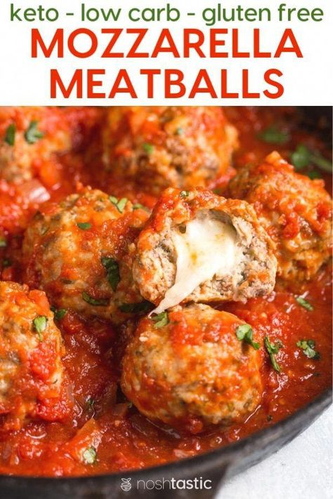 Keto Low Carb Mozzarella stuffed meatballs recipe with homemade marinara sauce that's SO much better, easier and cheaper than jarred sauce, you'll love it! Keto Foods, Ketogenic Recipes, Keto Meal, Ketogenic Diet, Slow Cooker Recipes, Beef Recipes, Cooking Recipes, Healthy Recipes, Meatball Recipes
