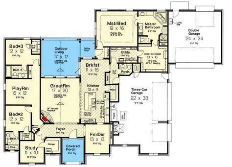 Plan 48562fm Spacious One Level European House Plan House Plans European House European House Plan