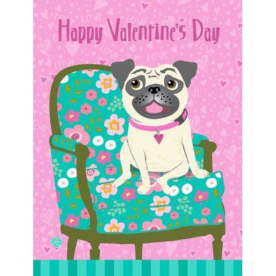 "Caroline's Treasures Happy Valentine's Day Pug 2-Sided Garden Flag Size: 28"" H x 40"" W"