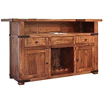 Amazon Com Rustic Jacob Bar With Iron Footrest Real High Quality Wood Cabin Lodge Wesrwen Kitchen Dining With Images Bars For Home Wine Bar Cabinet Bar Furniture