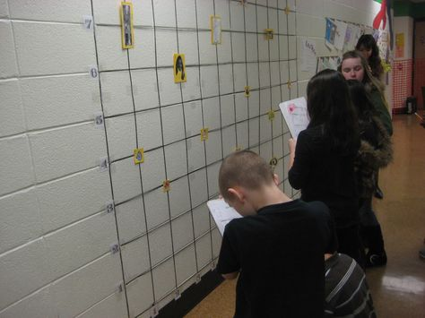 Clever Idea when teaching coordinate pairs...make a giant grid on the wall and place well known characters on the grid...students plot the ordered pairs for each character
