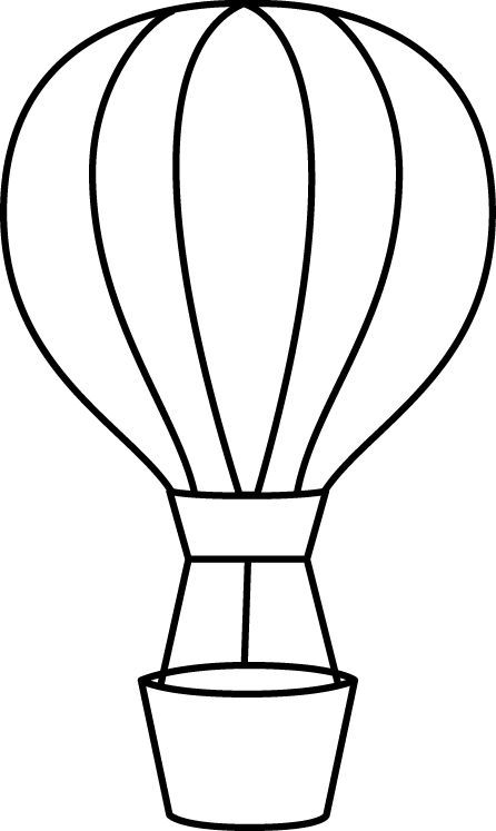 Black and White Hot Air Balloon Clip Art - Black and White Hot Air Balloon Image