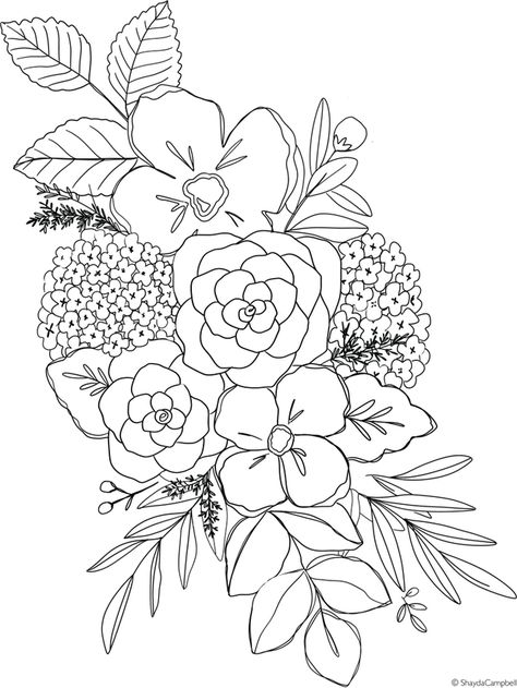 Spring Hydrangea Coloring Page Watercolor Art Sketch Sharpie Doodles, Sharpie Art, Sharpie Projects, Watercolor Flowers, Watercolor Paintings, Watercolor Illustration, Art Sketches, Art Drawings, Flower Drawings