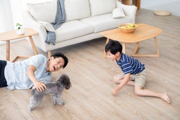 Chinese Father And Son Playing With Dog On Floor Sponsored Son Father Chinese Floor Dog Ad Father And Son Hipster Logo Dogs