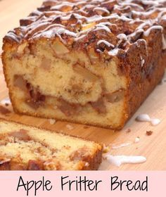 It's apple-picking season! Our newest, most autumnal favorite way to enjoy the fresh-picked fruits? This simple-to-make Apple Fritter Bread! Apple Fritter Bread, Apple Cinnamon Bread, Apple Fritters, Apple Bread, Banana Bread, Apple Loaf, Apple Fritter Recipes, Apple Muffins, Ground Cinnamon