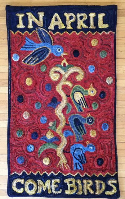 Mary Logue The Baldishol Birds Of April Norwegian Textile Letter Rug Hooking Birds Contemporary Textiles