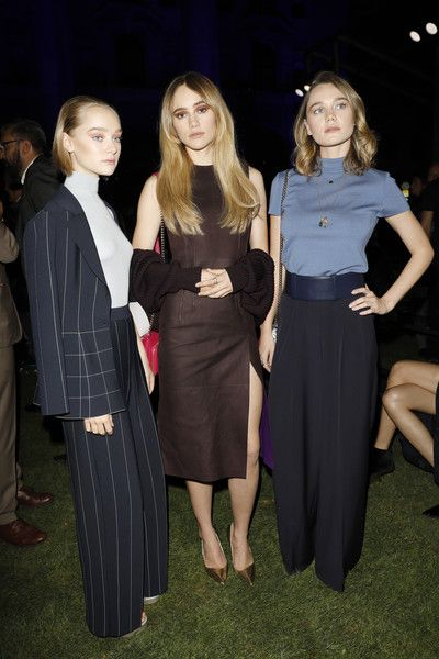 Suki Waterhouse, Maddi Waterhouse, and Immy Waterhouse attend the Salvatore Ferragamo show during Milan Fashion Week Spring/Summer 2018.