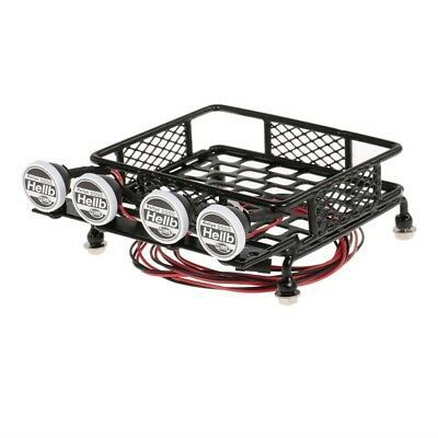 1 10 Scale Alloy Metal Roof Rack W Led Light Bar For Axial Rc Car In 2020 Roof Rack Led Light Bars Metal Roof