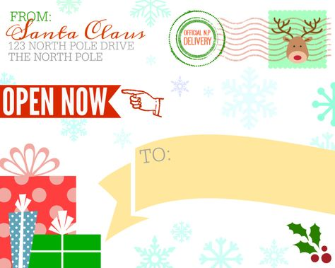 FREE Printable Shipping Label from Santa Claus North pole, Santa - free printable shipping labels