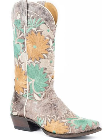 861c0ecb30a Roper Women's Floral Bouquet Embroidered Cowgirl Boots - Square Toe ...
