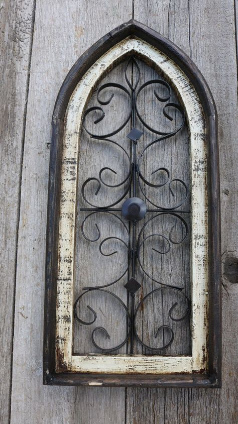 """Wooden Antique Style Church WINDOW Frame Primitive Wood Gothic 22 1//2/"""" Shabby"""