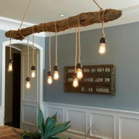 treibholz kronleuchter im zimmer - Wunderbare Treibholz Deko, die auch praktisch sein kann – 45 verblüffende Ideen Lampe