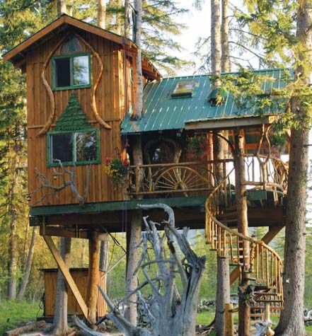 playhouseswingswood sculpture pinterest tree houses cabin and house - Cool Kids Tree House