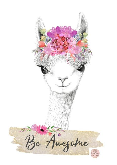 Llama Boho Printable Floral Watercolor Pastels Wall Art | Etsy