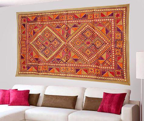 Indian Home Decor Antique Design Kutch Tribal Wall Hanging Triveni