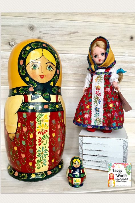 Cute Stuffed Fabric Russian Doll Babushka Style Pink Single Freestanding New