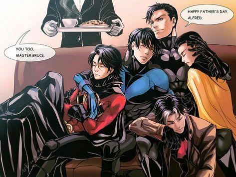 Bruce Wayne, Dick Grayson, Jason Todd, Tim Drake and Damian Wayne. Batman Y Superman, Batman Robin, Superman Games, Damian Wayne Batman, Tim Drake, Marvel Vs, Marvel Dc Comics, Robins, Harley Quinn