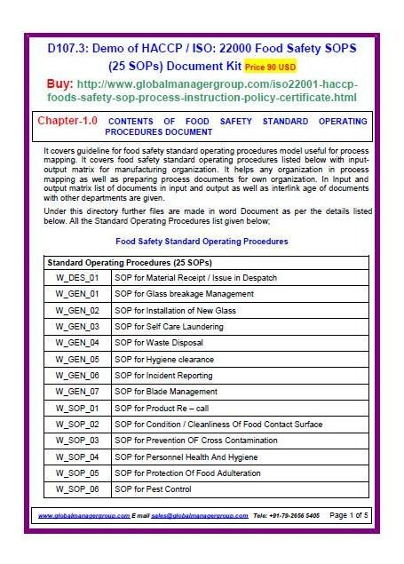 BRC food safety management system SOP, policy, process approach - free sop templates