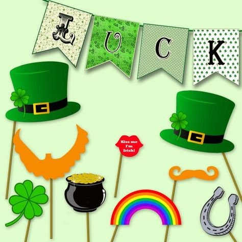 DORCEV 5x5ft Happy Saint Patricks Day Backdrop St Patricks Day Party Photography Background Rainbow Pot of Gold Coin Horseshoe Lucky Shamrock Festival Party Banner Child Adults Photo Studio Props