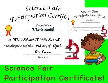 Science Fair Participation Certificate Science Fair Participation Certificate Science