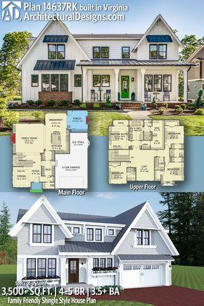 Plan 14637rk Family Friendly Shingle Style House Plan Architectural Design House Plans House Blueprints House Plans