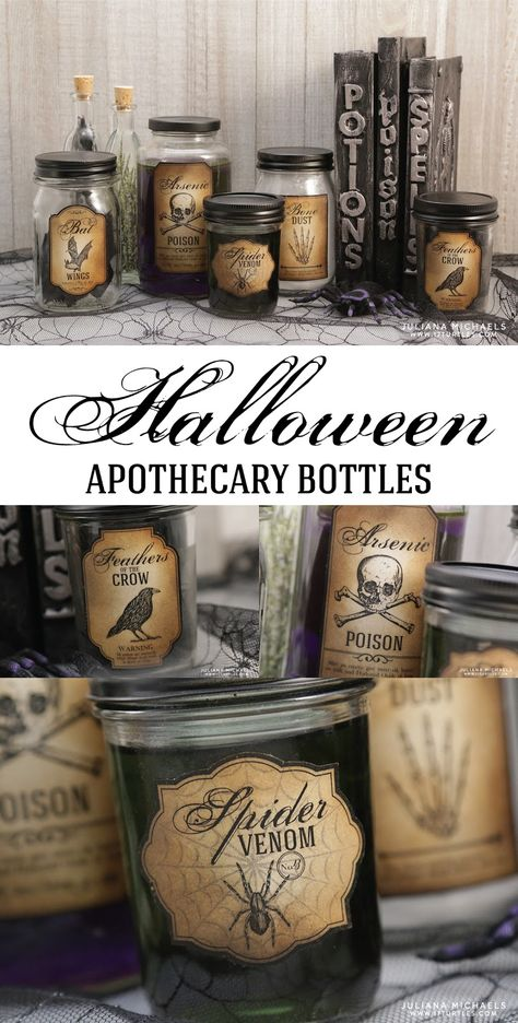 Halloween Apothecary Bottles created using recycled glass jars and a free printable - Halloween Bottle Labels. Halloween Apothecary Labels, Halloween Bottle Labels, Halloween Potions, Halloween Kitchen, Apothecary Bottles, Fete Halloween, Holidays Halloween, Vintage Halloween, Printable Halloween Labels
