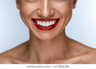 Beautiful Smile With Healthy White Teeth And Red Lips Closeup Of