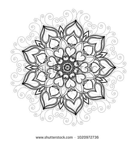 Heart mandala for wedding card decoration or Valentine's Day or adult book coloring