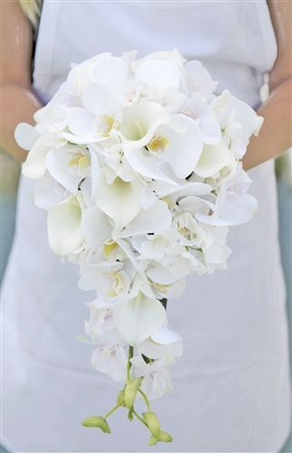 Natural Touch Off White Orchids And Calla Lilies Cascading Silk Wedding Bouquet In 2020 Elegant Wedding Bouquets Wedding Flower Guide Wedding Flower Arrangements