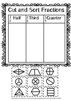 Fraction Worksheets - Half, Third, Quarter (Kindergarten / Pre K ...