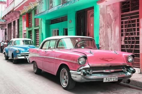 Cuba Fuerte Collection Old Cars Chevrolet Pink And Blue