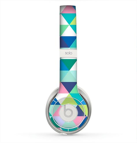 The Vibrant Fun Colored Triangular Pattern Skin for the Beats by Dre Solo 2 Headphones from Design Skinz, INC.
