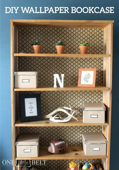 Upcycle that old bookshelf you never use and turn it into a fabulous new piece of furniture. Simply add wallpaper to the back to revamp its whole look!