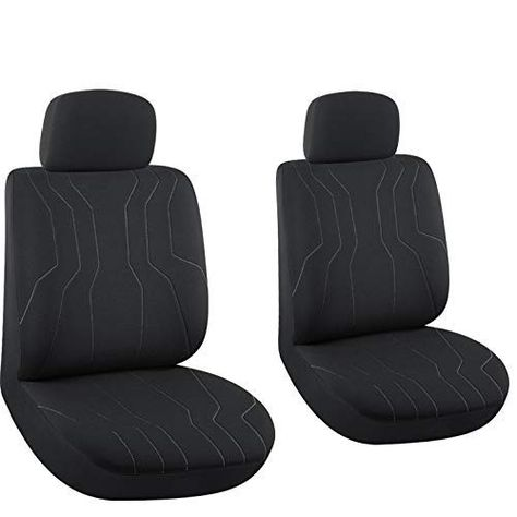 Gray//Black Color FH Group PU006115 Varsity Spirit PU Leather Seat Covers Airbag /& Split Ready