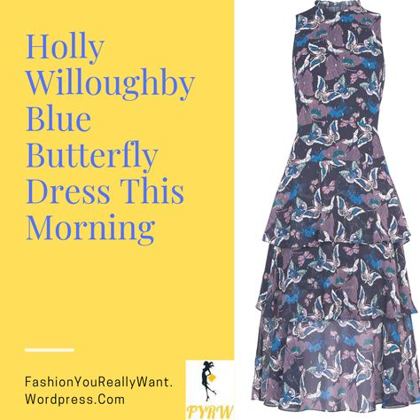 b28286d9b77d Holly Willoughby style outfit blog blue tiered butterfly dress black suede court  shoes This Morning September 2018. Holly was styled by Angie Smith